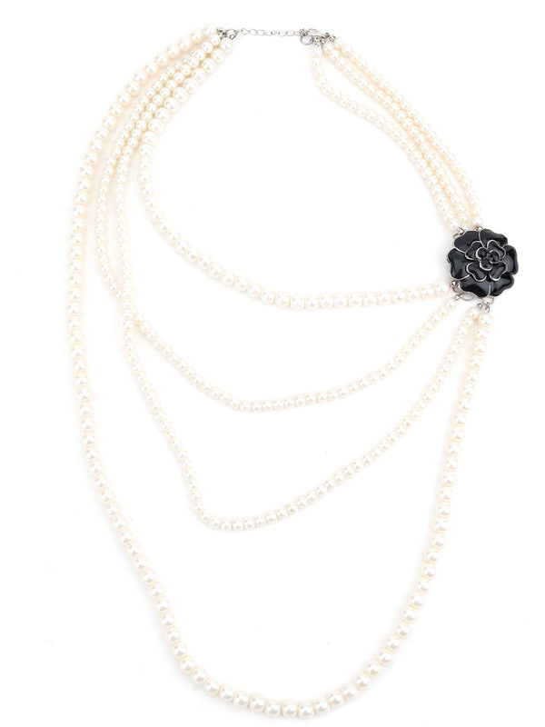 White Pearl Layering Artistic Necklace
