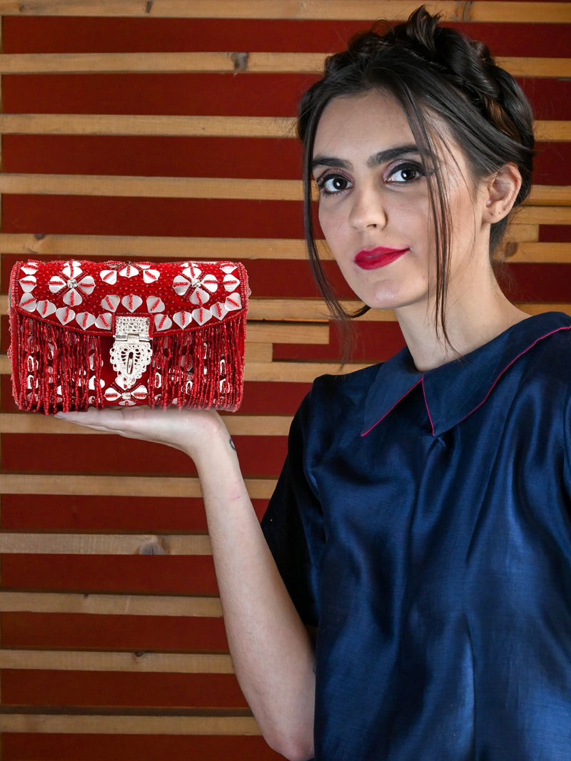 Red Beaded Envelope Clutch