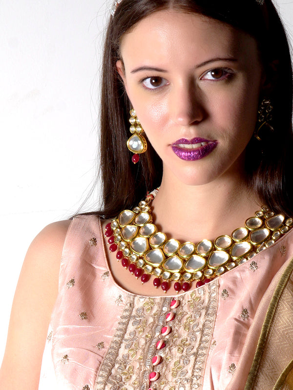 Traditional heavy semiprecious kundan & enameled necklace with earrings!