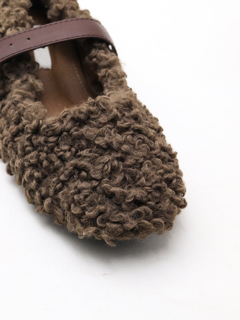 Flat brown fur shoes