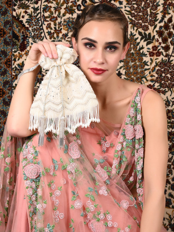 Off-White Embellished-Tassel Potli