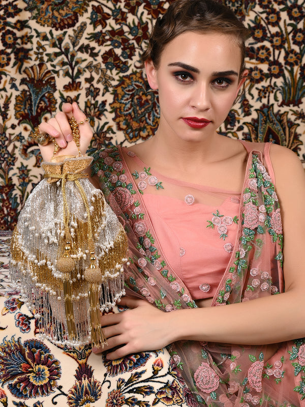 Golden-Silver Tassel-Beaded Potli