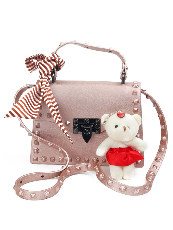 Peach Trendy PU Handbag