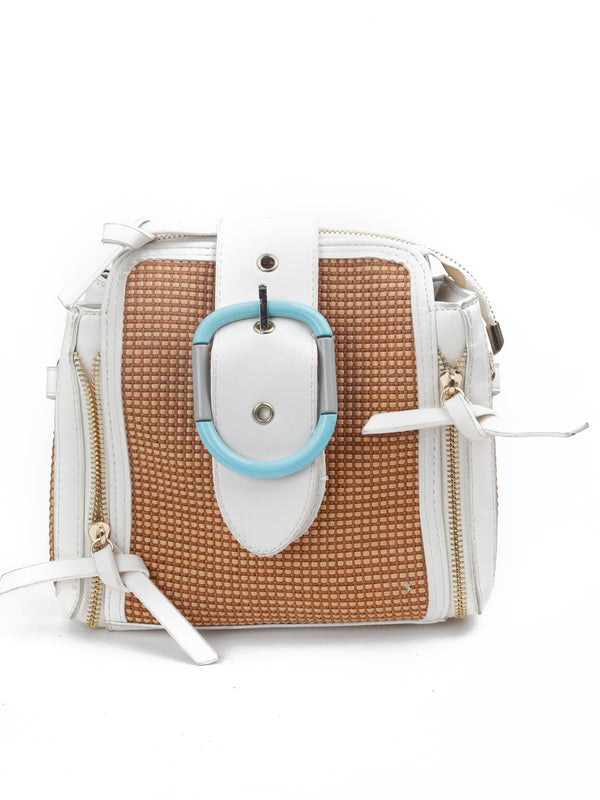 Brown-White Modish Handbag