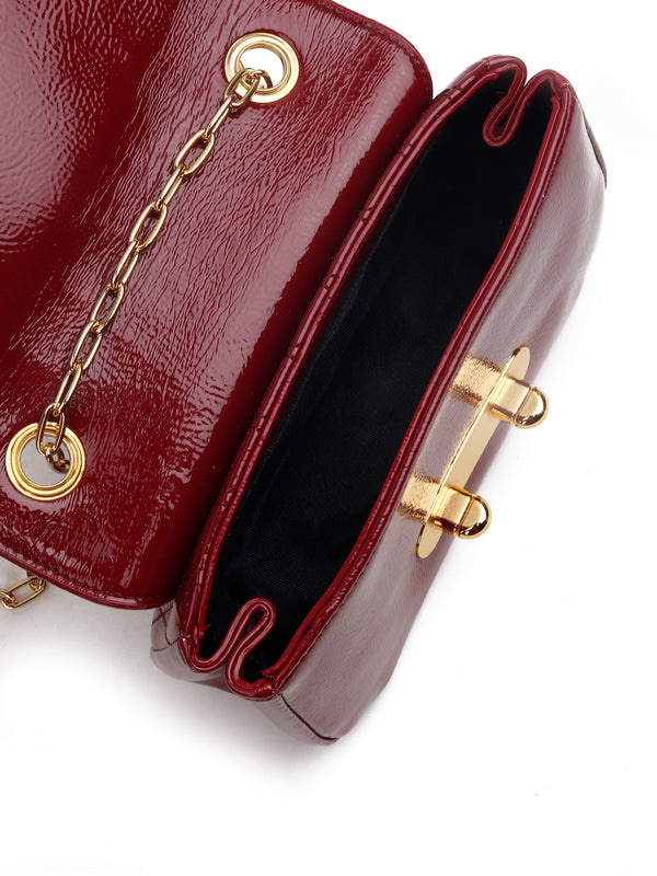 Maroon Shiny Leatherette Sling bag