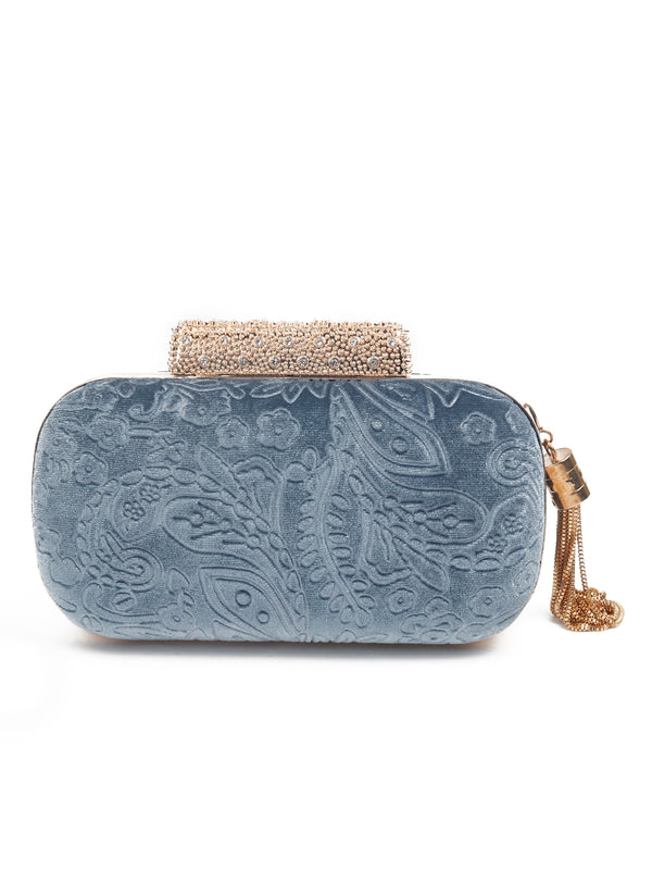 Azure Blue floral Pattern Clutch
