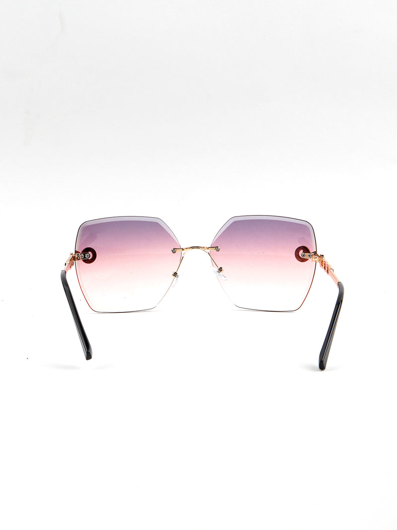 Violet-Pink Retro Square Cute Sunglass