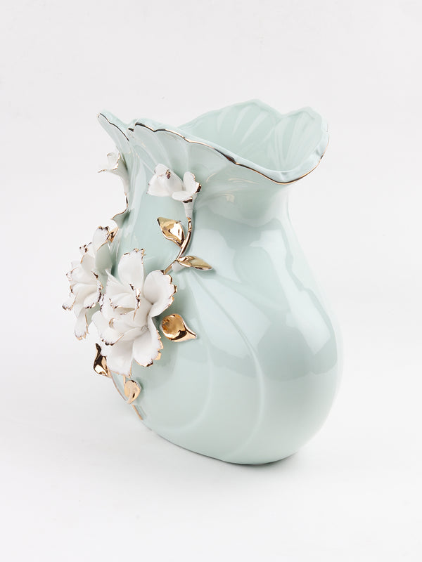 Pastel  and Gold Ceramic Vase