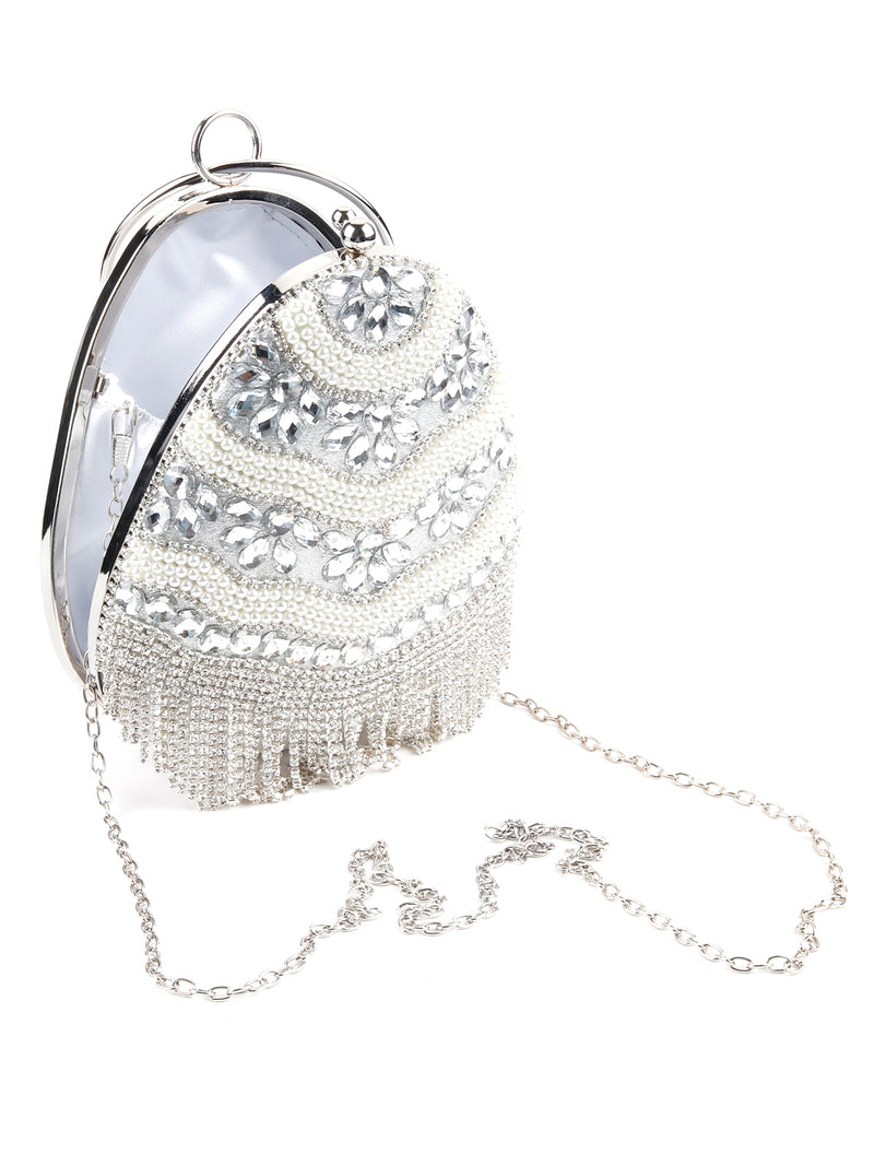 Egg Shape Crystal Pearl Clutch bag