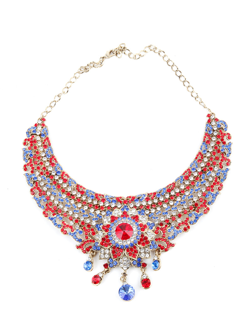 Red, Blue and White Floral Crystal Necklace