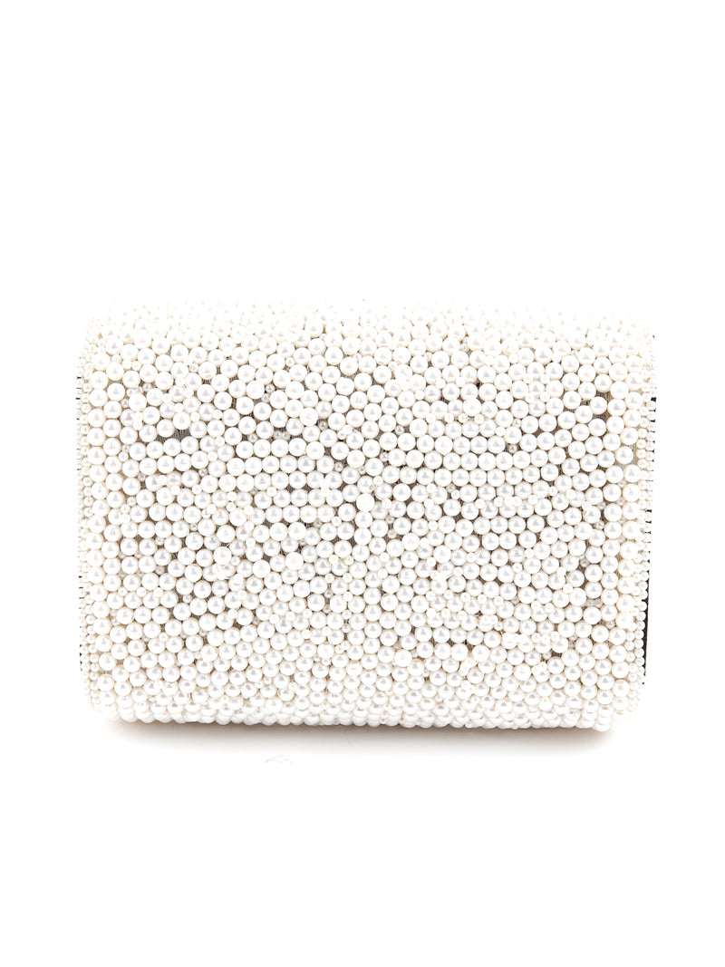 White Pearl Embellished Clutch