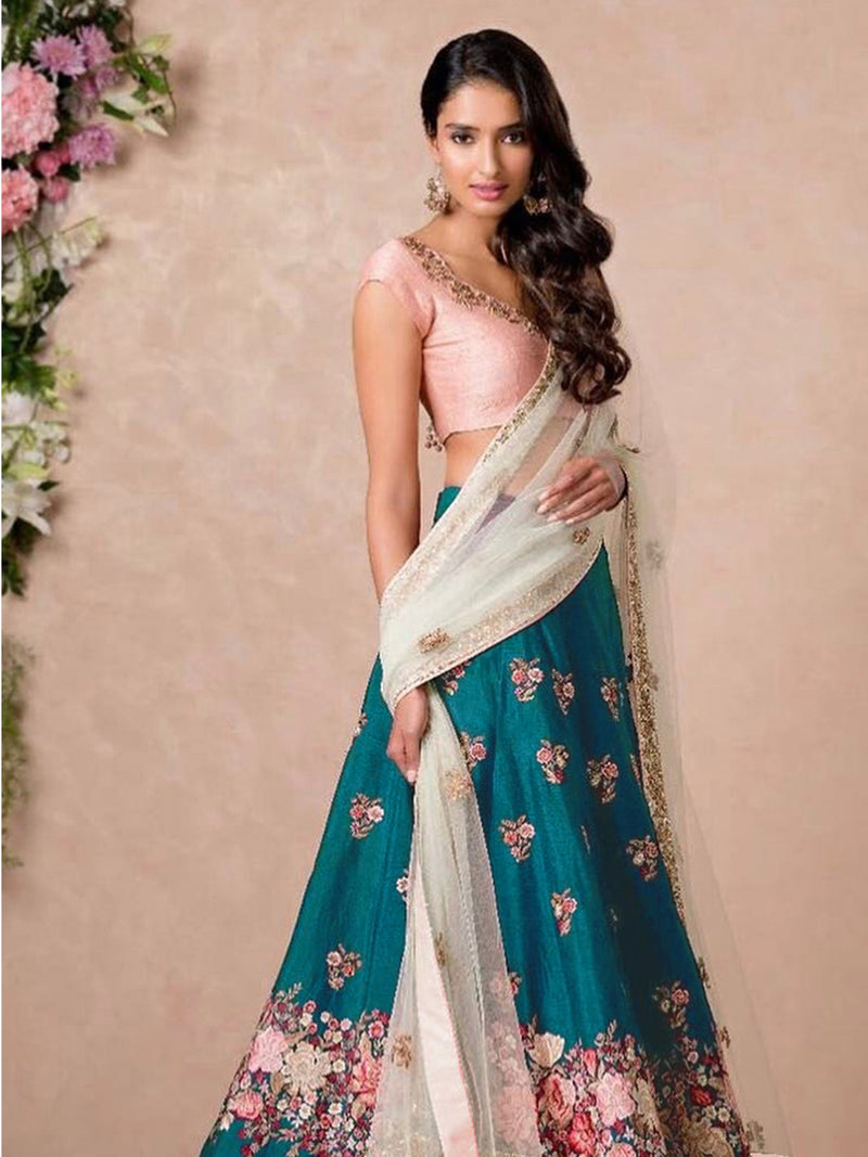 Rama Green Semi-Stitched Lehenga Choli With Dupatta set