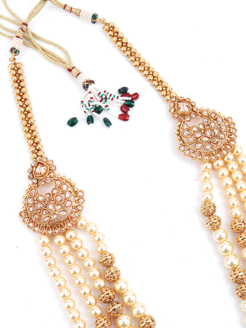 Off-White Pearl and Golden Beads Kundan Jewellery Set