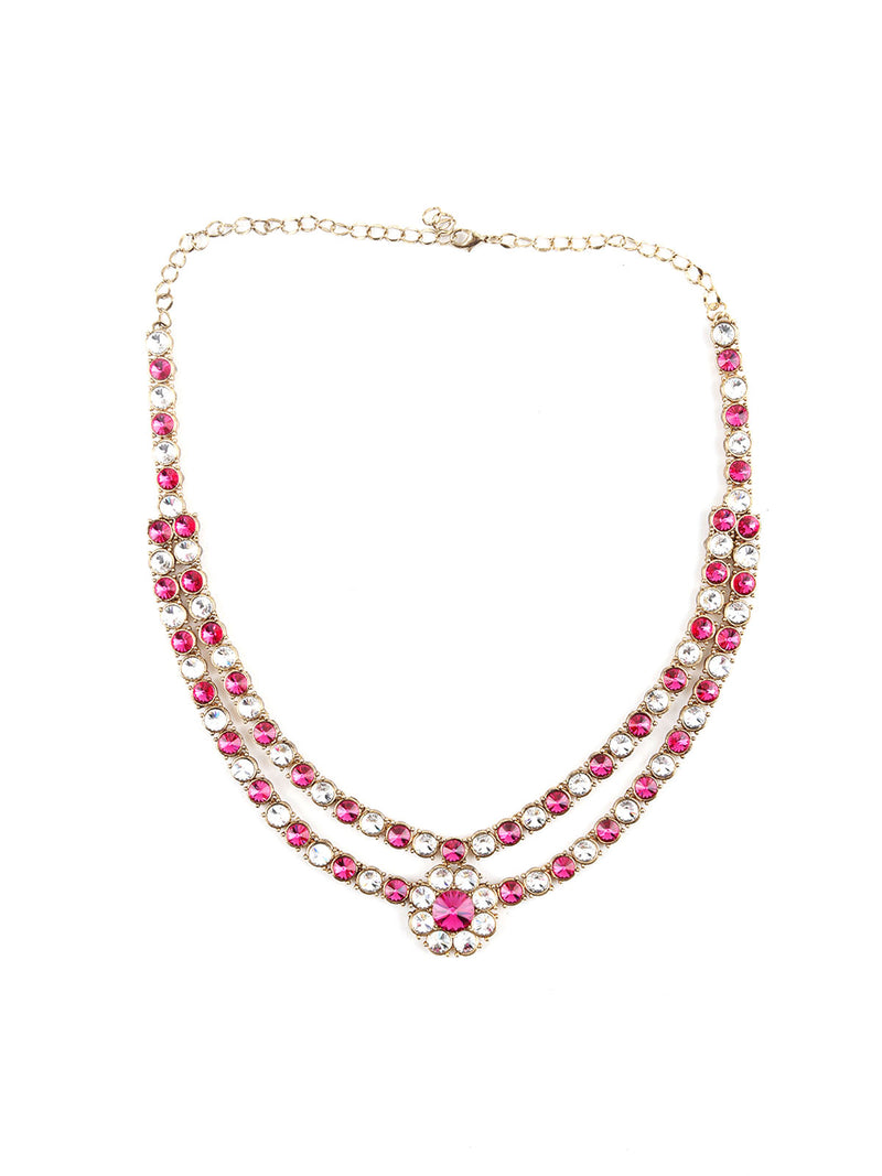 Pink And White Embellished Necklace Set