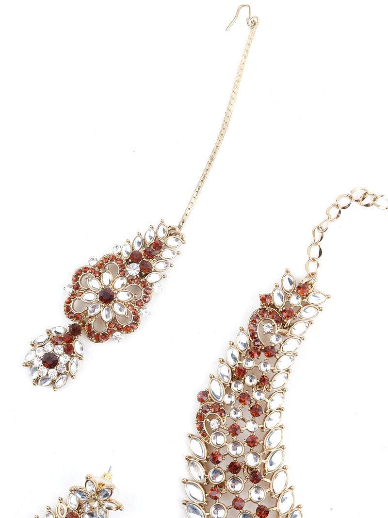 Red And White Kundan Necklace Set