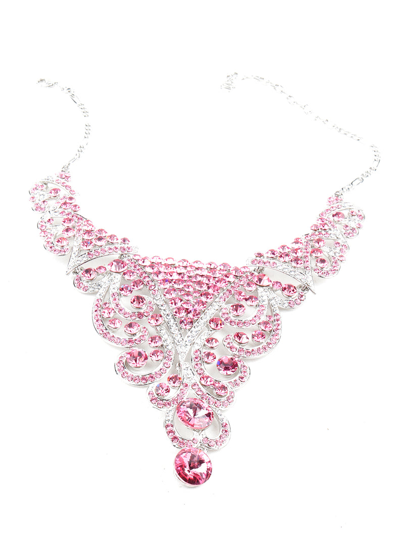 Pink Crystal Necklace Set