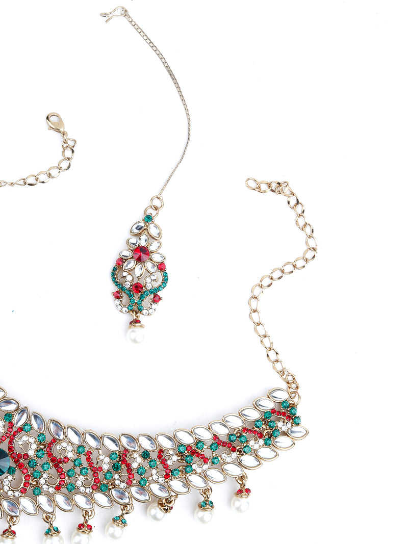 Red And Green Crystal Necklace Set