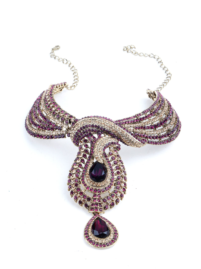 Purple And Golden Crystal Necklace Set
