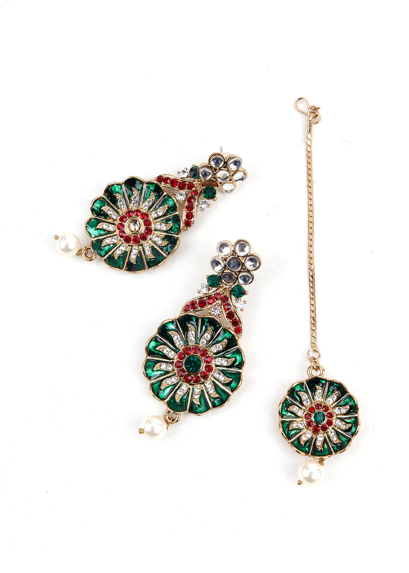 Red and green kundan Necklace Set