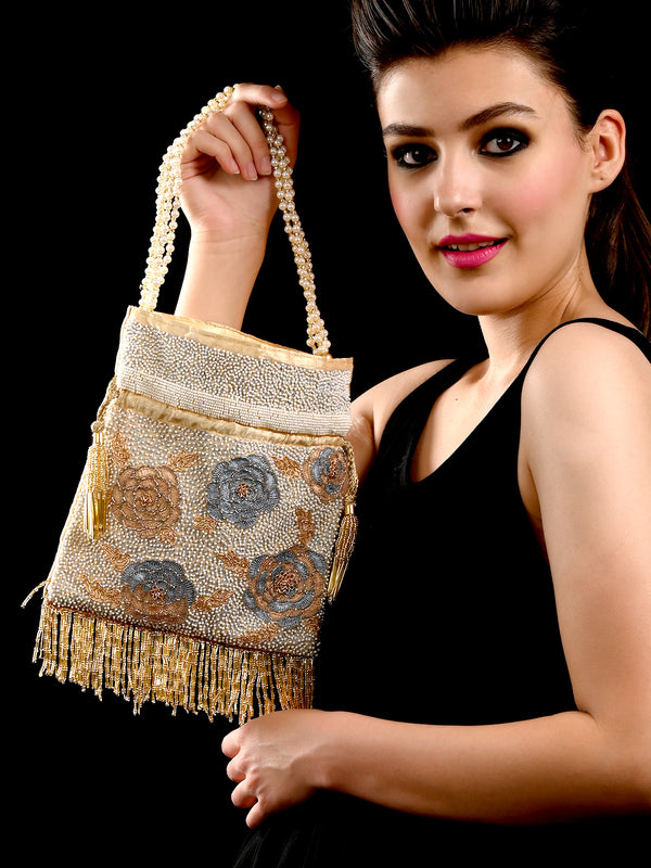 Peach fringe tasseled potli bag