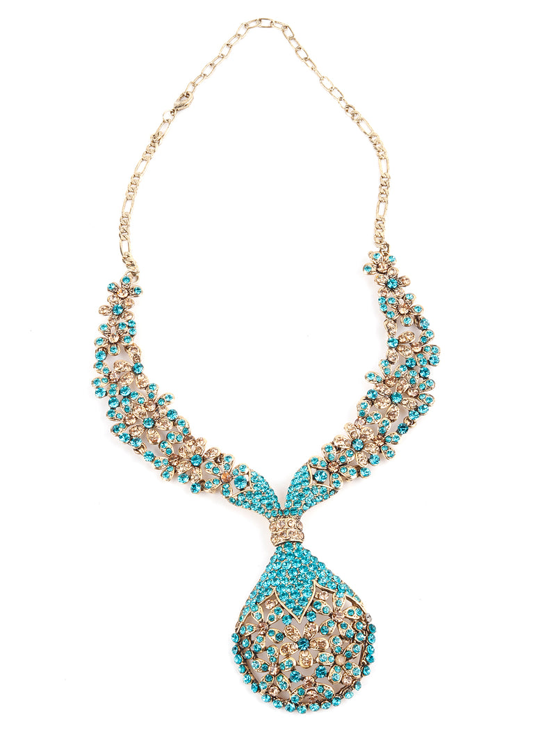 Turquoise Green and Golden Floral Necklace Set