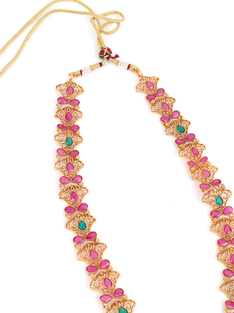 Maroon Beaded Gold plated Temple Jewellery set