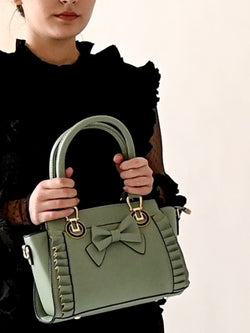 Olive Green Leather Bag With Bow