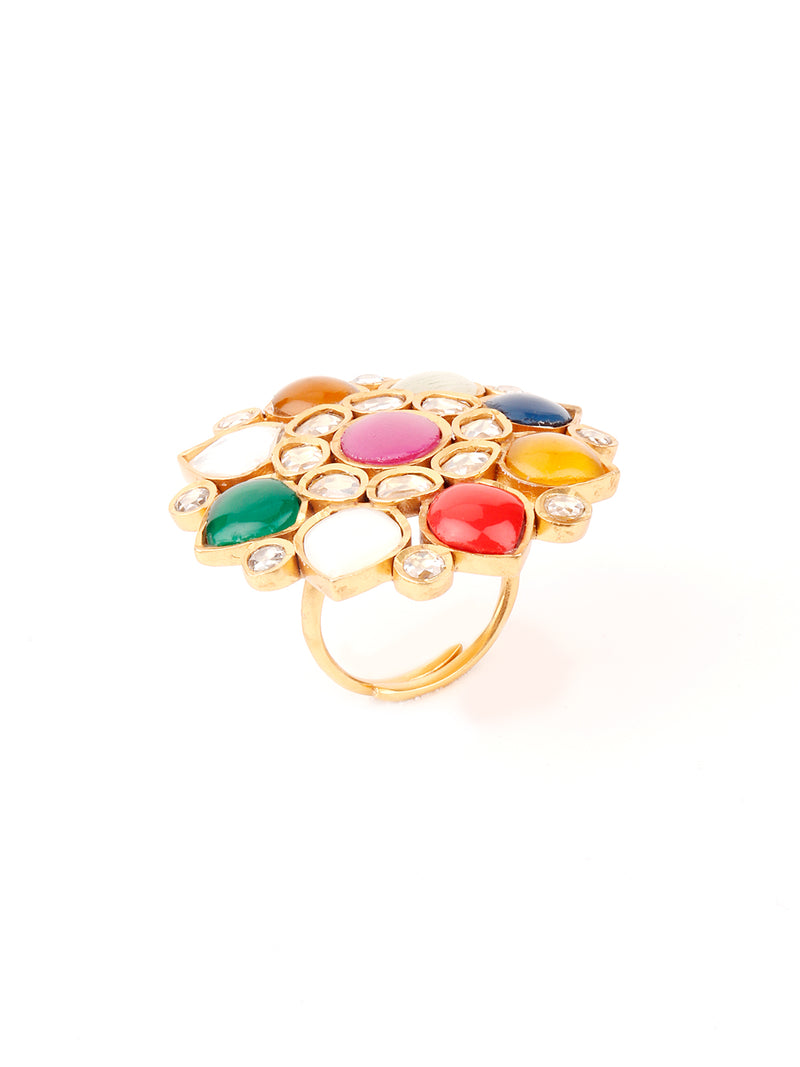 Multi-coloured Oversized Finger Ring