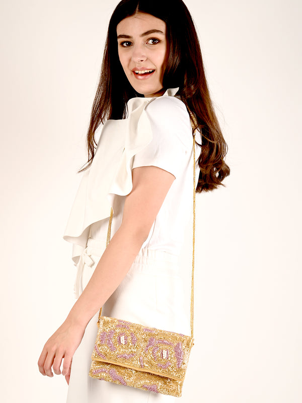 Golden And Lilac Envelope Clutch