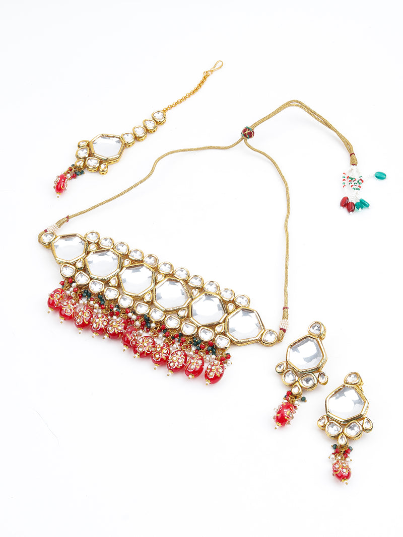 Red and White Beads Choker Necklace
