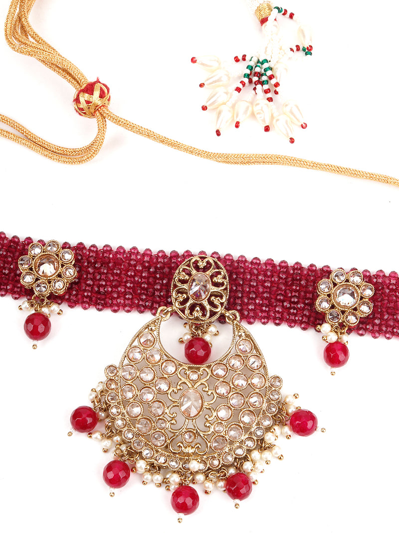 Magenta and Golden Choker Necklace