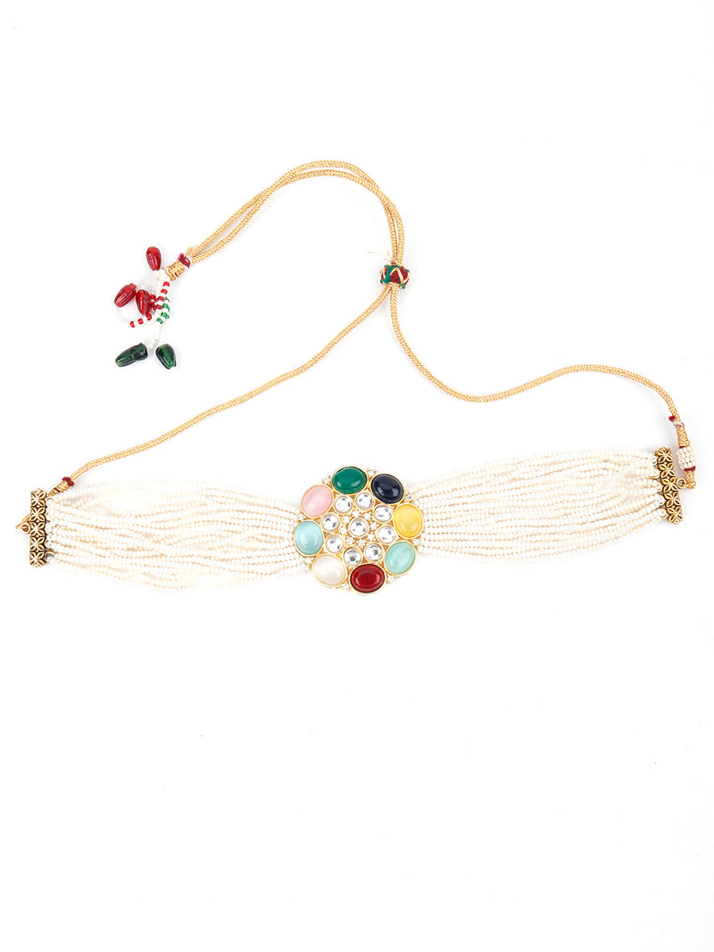 Multicolour Studded Pearl Choker Necklace