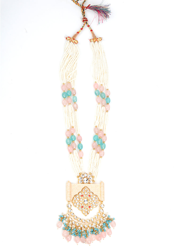 Multi-layered White, Green, Pink Pearl Chain