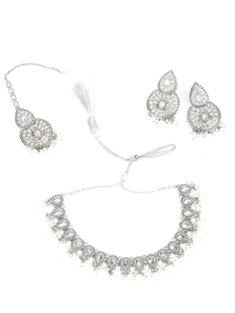 Silver studded rhinestone Necklace