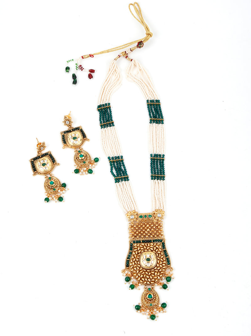 Green and White Traditional Necklace