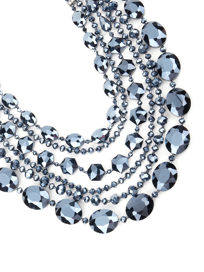 Crystal Blue Layered Necklace