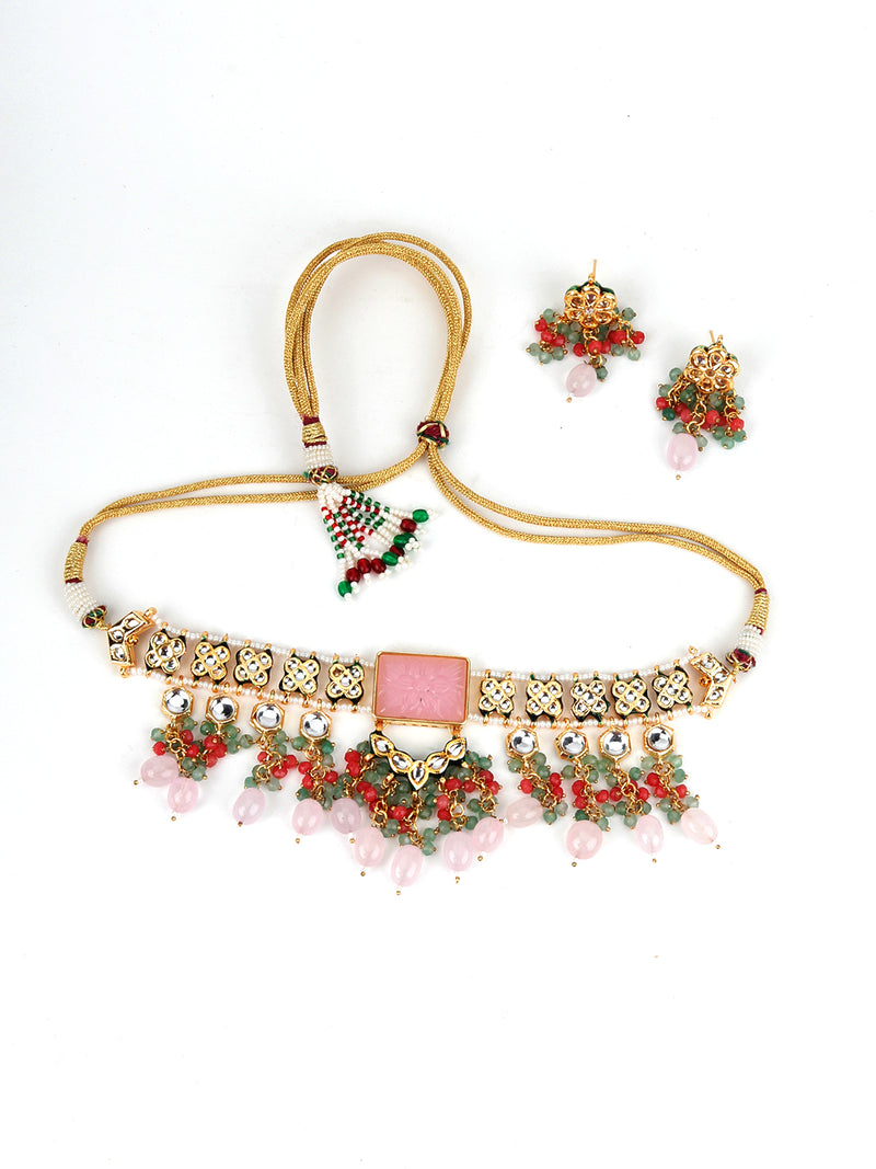 Pink Rhinestone Choker Necklace
