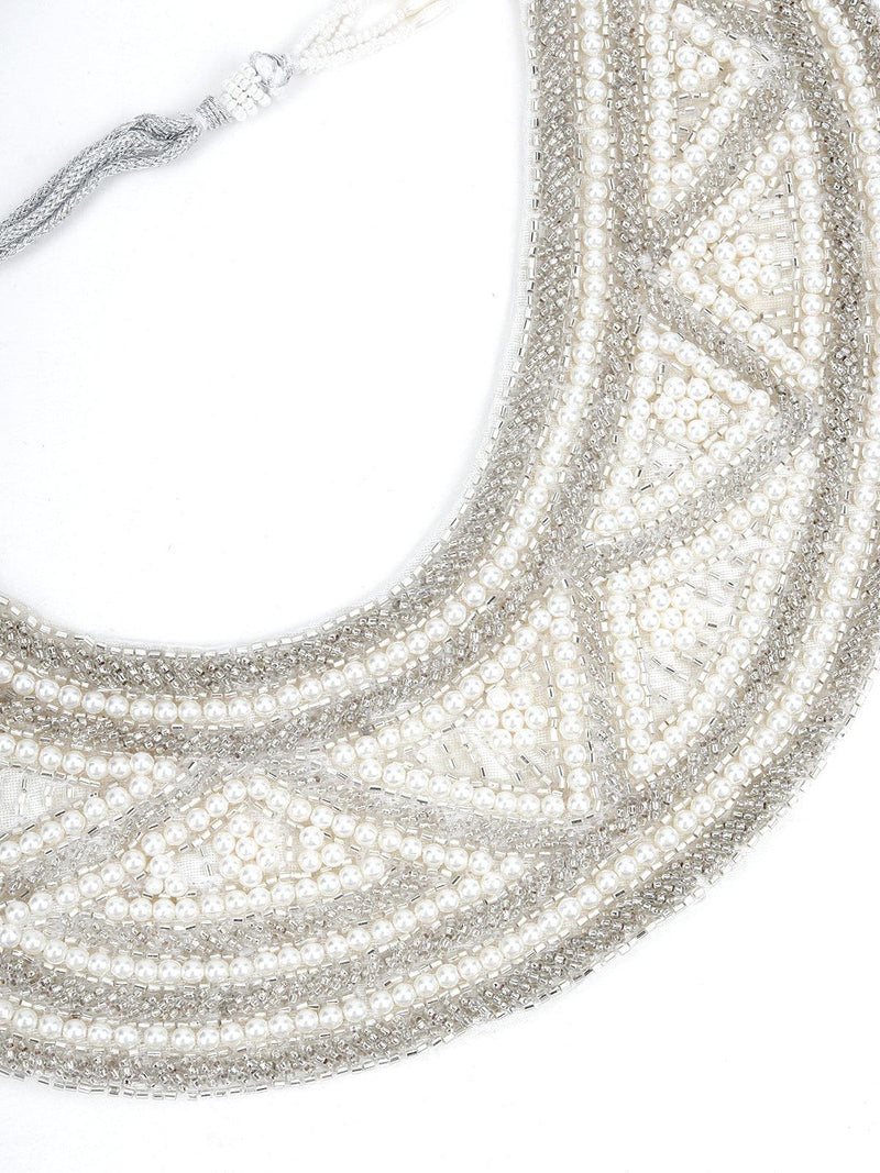 White Pearl Semi layered Necklace