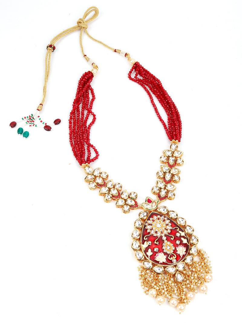 Red and Golden Traditional Pearl Chain