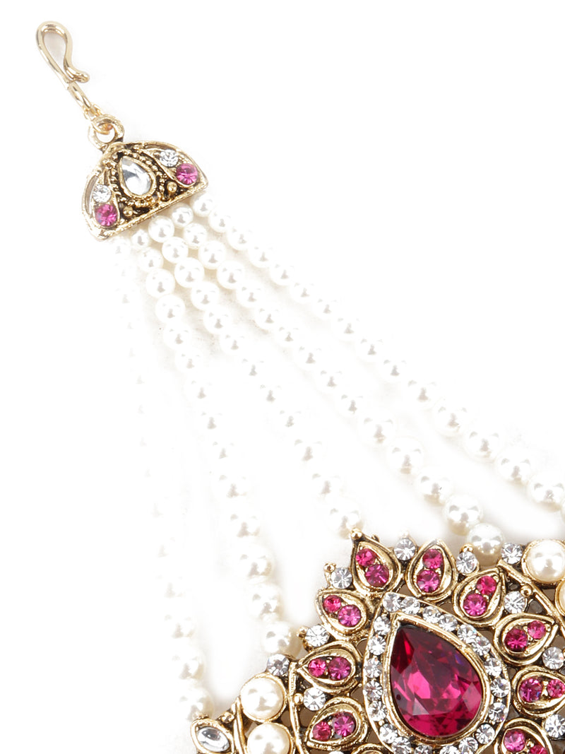 Gold plated White Beads, Pink Stone Maang Tikka