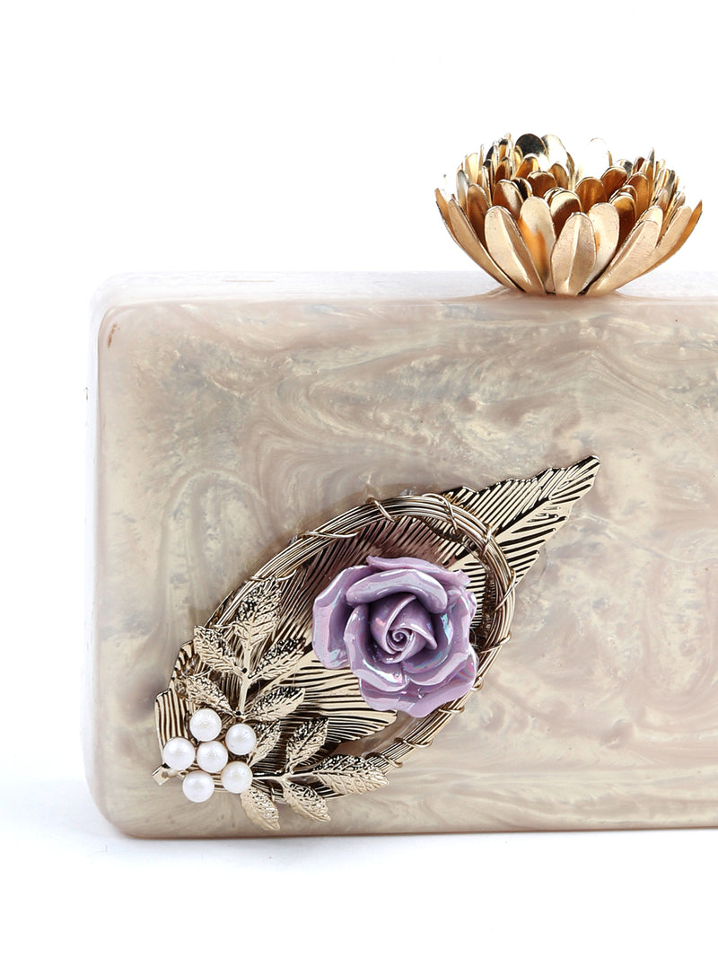 Golden Rose Rectangle Resin Clutch