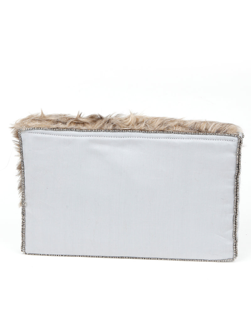 Light Grey Feather Sling Bag