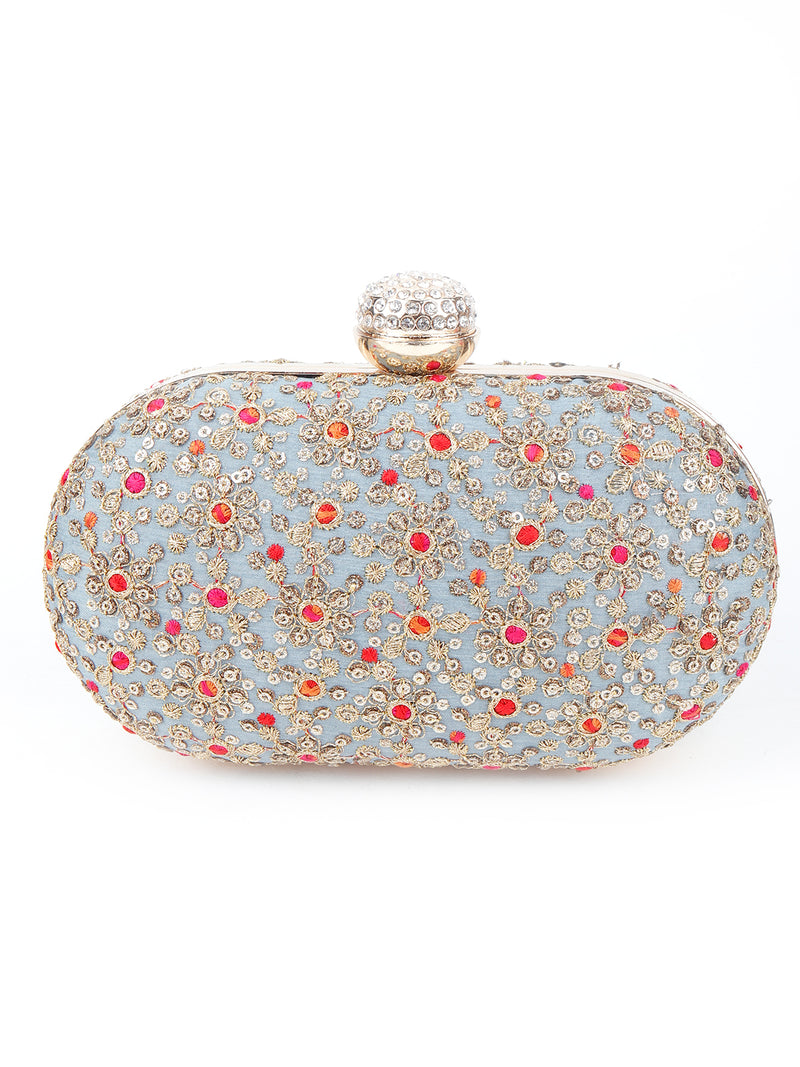 Grey Sequins Clutch