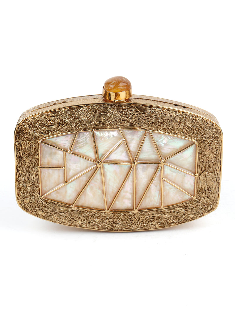 Antique Golden and Pearl Stone Bronze Finish Clutch