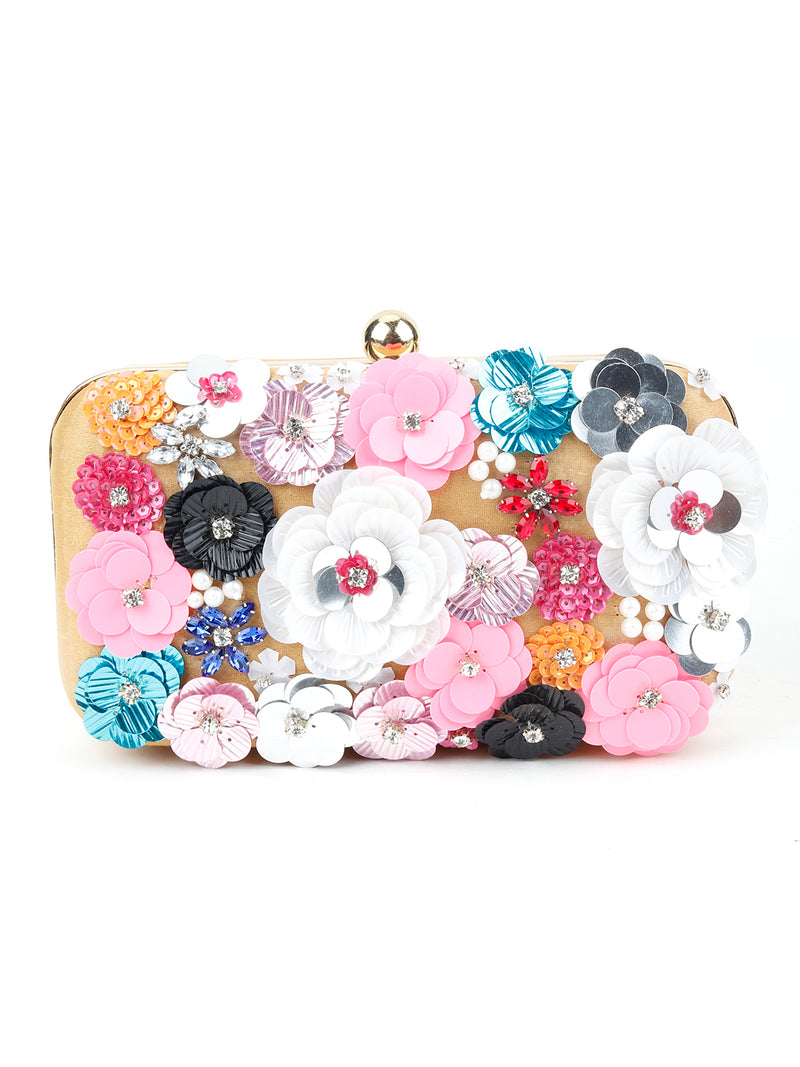 Yellow Floral Embellished Sequin Multicolour Clutch