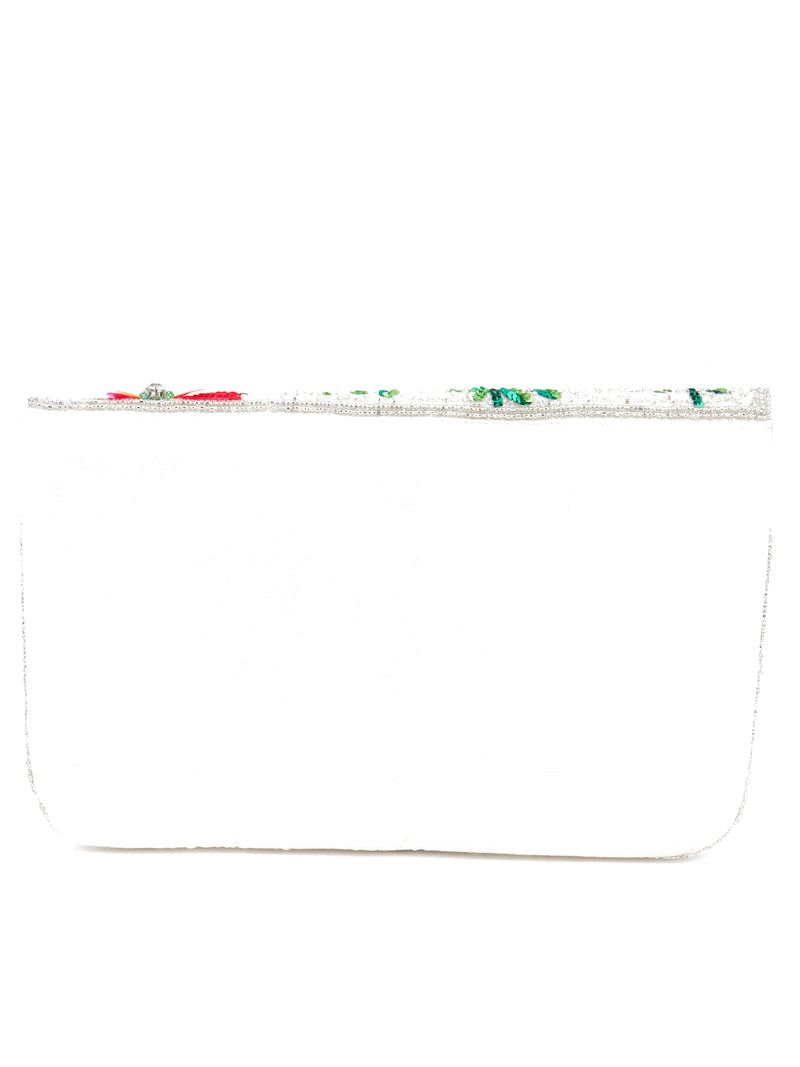 Green And White Tickle Flower Designed Envelope Clutch