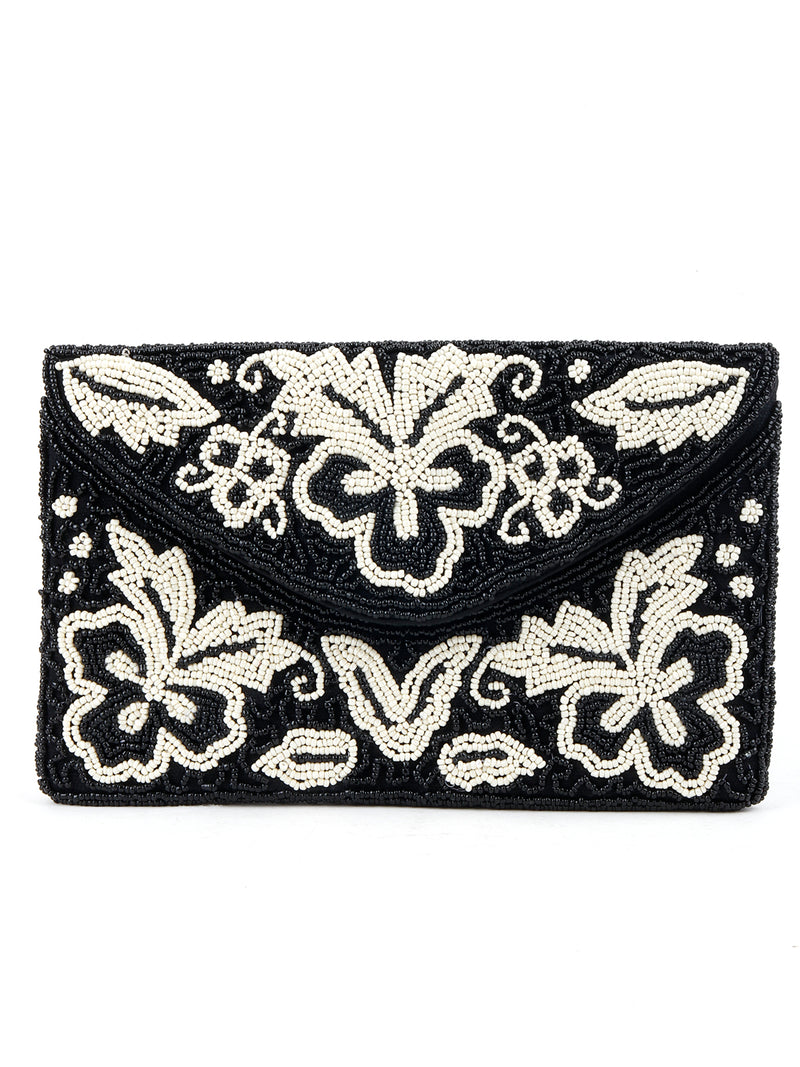 Black And White Beads Envelope Clutch