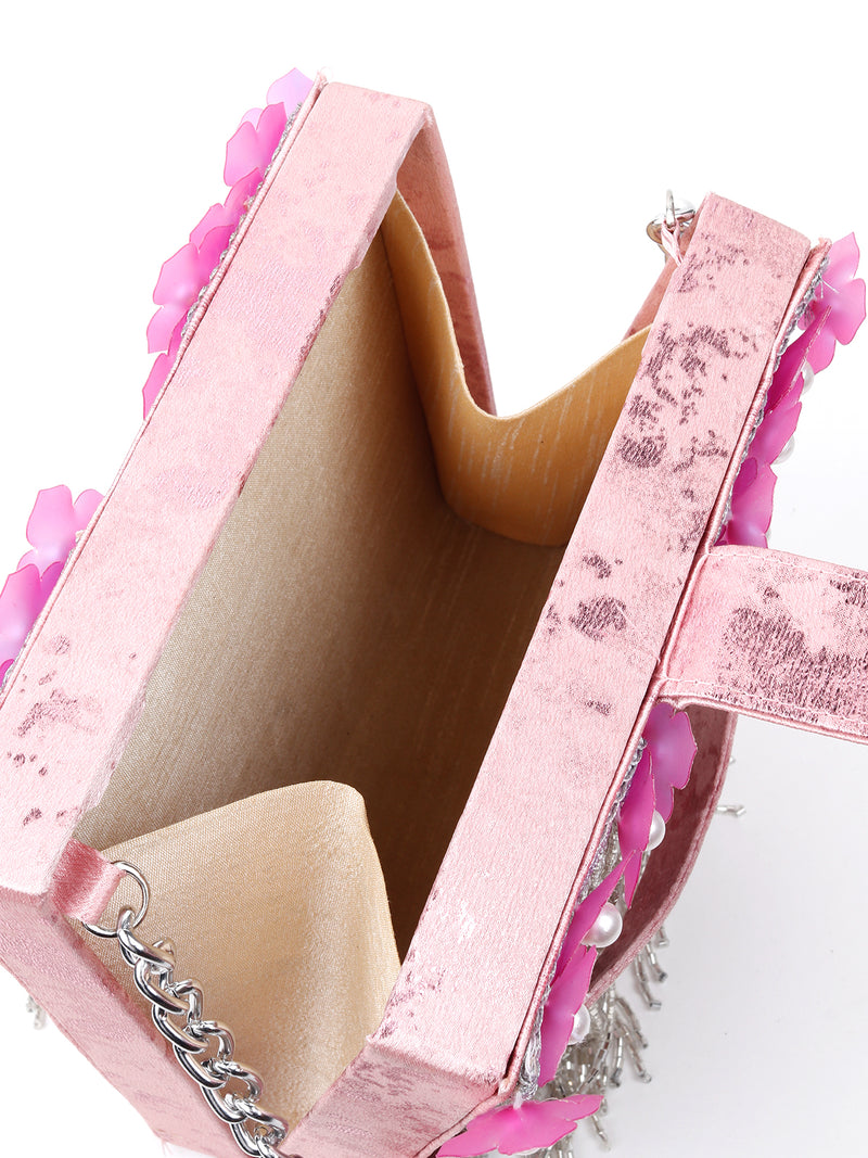 Pink Square Boxed Flower Clutch