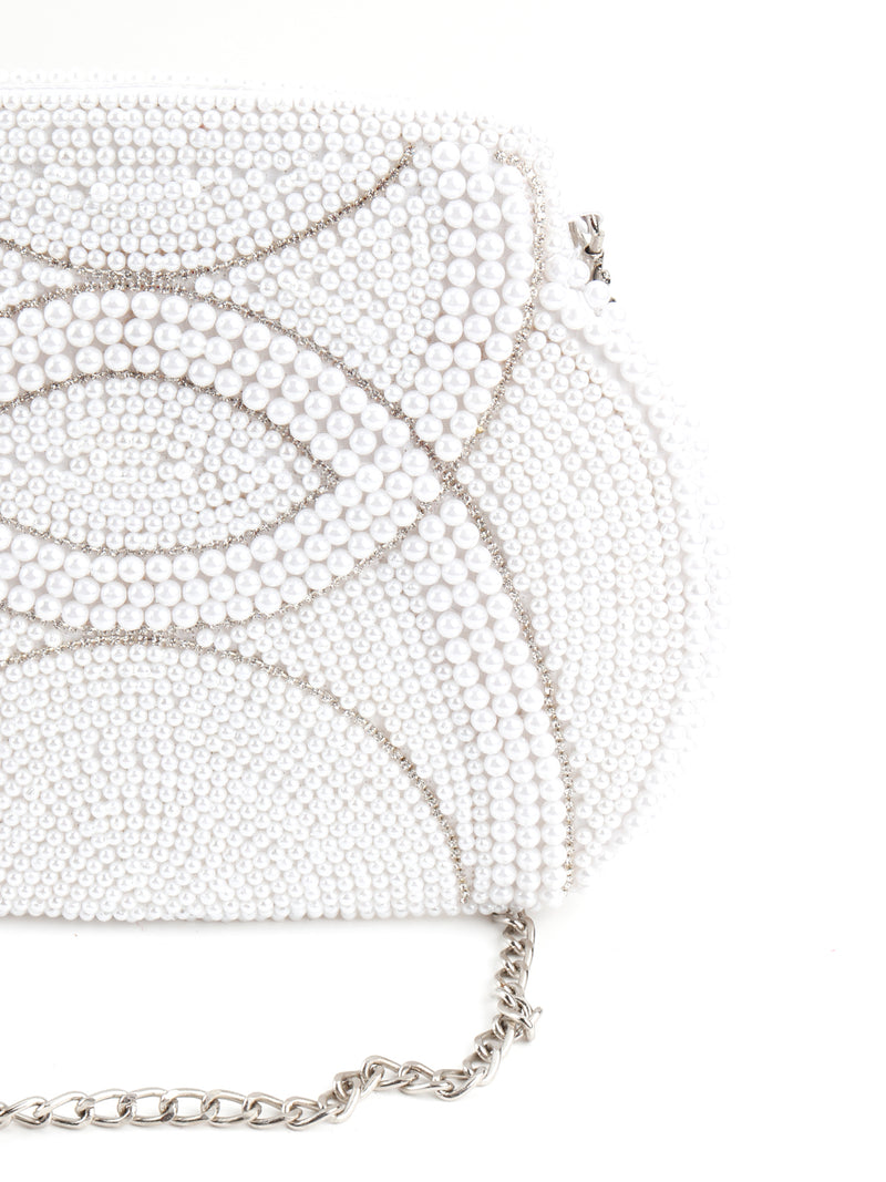 White Pearl Beads And Silver Stone Strands Sling Bag