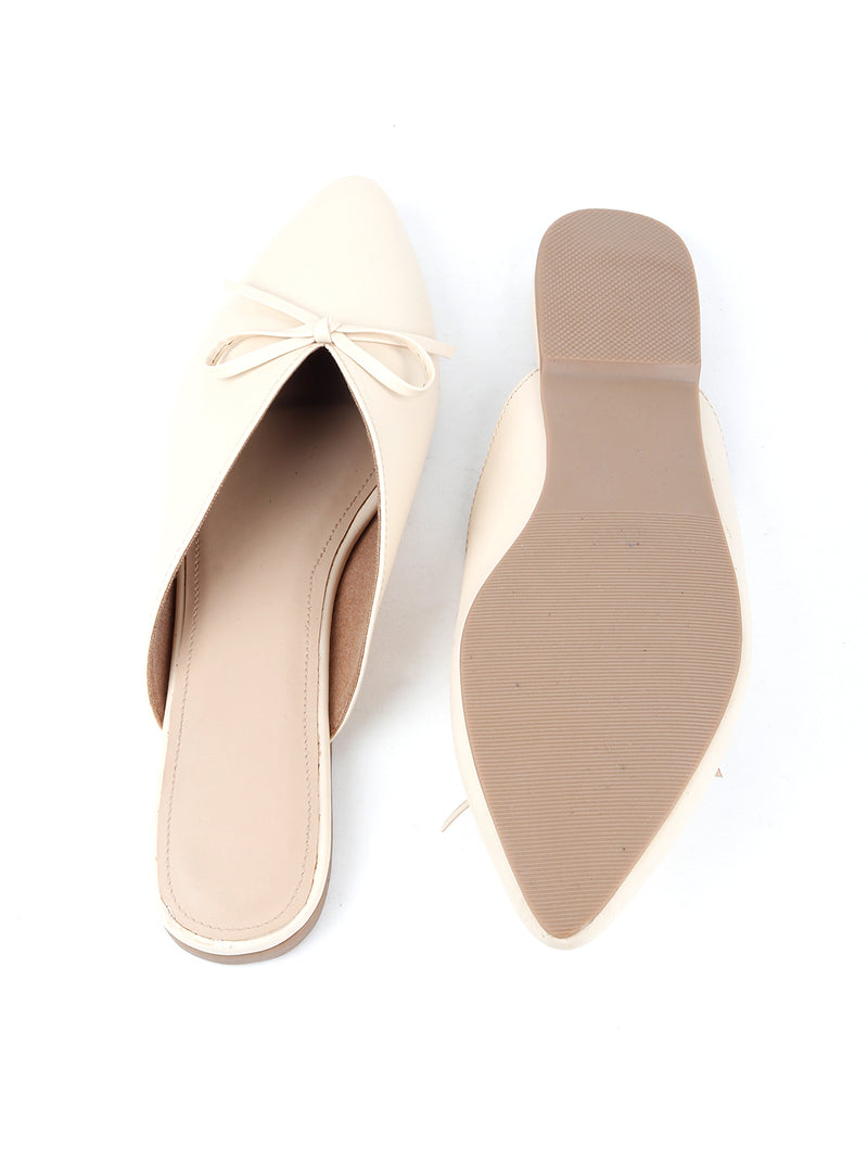 Closed Toe Stylish Beige Mules